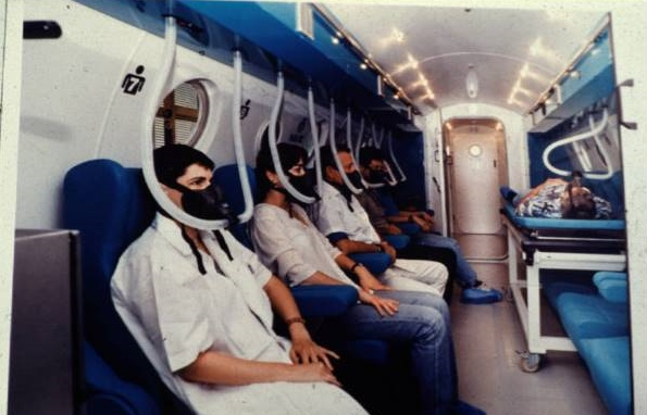 A multiplace walk-in hyperbaric chamber.